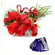 6 red roses bouquet 2 chocolates